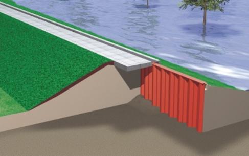 Palplanche mur d'inondation
