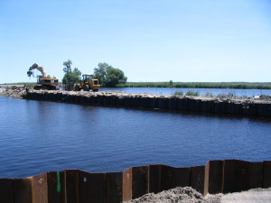 Fondation Breakwater renforcée avec Palplanche