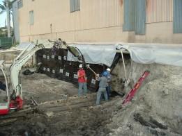 Parois des palplanches d'excavation